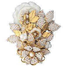 Stanley Hagler Ian St Gielar Vintage Brooch in White and Gold