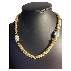 Nolan Miller gold-tone and rhinestone rope chain necklace
