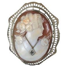 Vintage Georgian Victorian type Cameo Pin/Pendant with Diamond