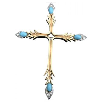 Jomaz signed Vintage Cross Turquoise and Rhinestone Pin