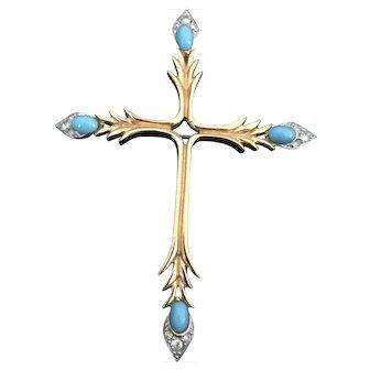 Jomaz signed Vintage Cross Turquoise and Rhinestone Pin