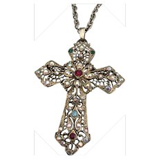 Vintage Filigree Cross Necklace with Aurora Borealis, green and ruby red rhinestones