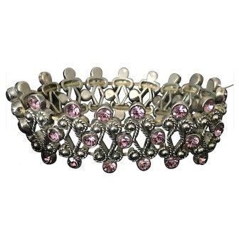 Vintage Purple Glass Silver-Tone Bracelet