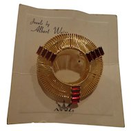 Deco Albert Weiss Brooch New on Card Faux Ruby Pin Costume Pin