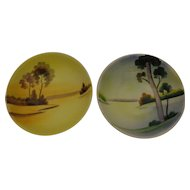 Pair of Beautiful Vintage Japanese Hand Painted Rice Bowls by Meito