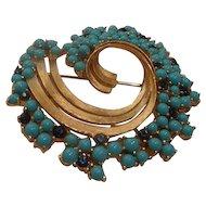 Vintage Trifari Faux Turquoise & Sapphire Brooch Pin Near Mint