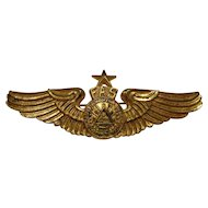 Vintage El Salvador Senior Pilot Wings Full Size Pinback FAS South America Military Collectible