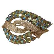 Vintage Coro Iridescent Aurora Borealis Rhinestone Leaf Brooch Pin