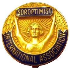 Vintage 10K Gold Soroptimist International Women's Association Deco Pin