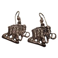 Vintage Sterling Silver Mastodon Mammoth Earrings Signed Studio Made