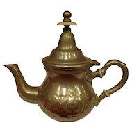 VIntage Moroccan Silverplated Tooled Coffee / Tea Pot Signed Theiere Moulay Hassan Dar El Berrad Islamic