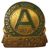 Armstrong Cork Company Employee Badge Pittsburgh Pennsylvania