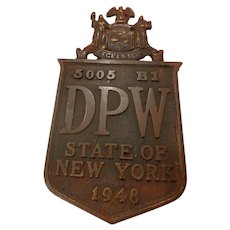 Vintage Bronze Plaque New York State Automobile License Plate Topper 1948 Empire  NY DPW