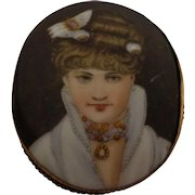 Antique Large Porcelain Cameo Brooch Hand Painted c. 1900