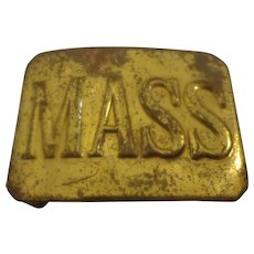 Antique State of Massachusetts Militia Indian Wars Belt Buckle Military