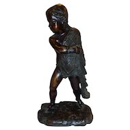 Fabulous Antique French Bronze Child Fisherman Amorini Putti c. 1865-1875 Sculpture