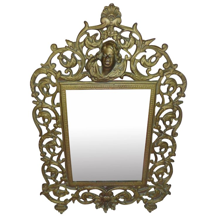 Antique Victorian 1880s Mirror Or Picture Frame Aesthetic Table Top Brass