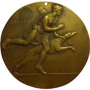 Rare Bronze French Dog Show Medal Art Deco from Poitou Region of France 1930s