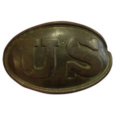 Antique US Army Civil War Belt Buckle with Battle Damage