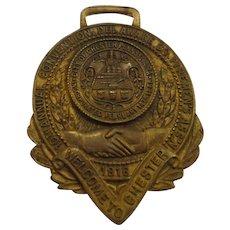 Antique Pennsylvania Fireman's Watch Fob Medal 1916 Convention