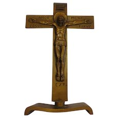 Rare Late Art Deco Bronze Bedside Crucifix Continental Modern Catholic Christian