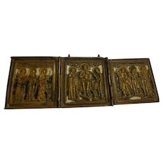 19th C. Russian Enamel Orthodox Traveler's Icon Triptych Bronze