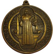 Large Rare St. Benedict's Bronze Late Victorian Clergy Medallion Catholic Medal Christian Pendant