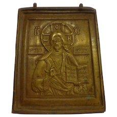 "19th C. Bronze Russian Orthodox Icon Plaque ""Christ the Pontificator"" Christian"