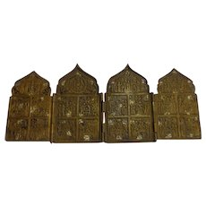 Antique Russian Orthodox 19th C. Bronze Travelers Icon Quadriptych Christian