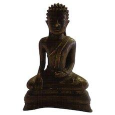 Antique 19th C. Bronze Thai Seated Buddha  The Enlightened One Buddhist