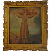 Important Antique Retablo on Tin Saint Philip of Jesus Franciscan Priest Painting Felipe de