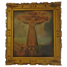 Important Antique Retablo on Tin Saint Philip of Jesus Franciscan Priest Painting Felipe de