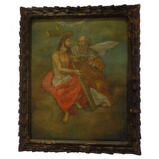 Important Antique 19th C. Spanish Colonial Retablo on Tin God the Father and God the Son