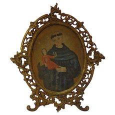 Antique 19th C. Spanish Colonial Retablo on Tin St. Anthony Holding the Child Jesus