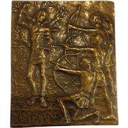 Vintage Bronze St. Sebastian Plaque Midcentury Modern Religious Art Italy