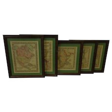 Antique Hand Colored World Map Set of 5 c. 1860 w Routes of Travel Political Divisions Recent Discoveries