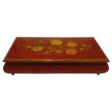 Vintage Italian Inlaid Wood Marquetry Music Jewel Box Walnut Jewelry Keepsake