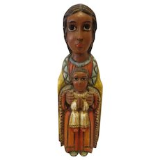 Outstanding Midcentury Santos Mother Mary and Baby Jesus Titled Romanesque Virgin Catholic Statue by JH Rodriguez