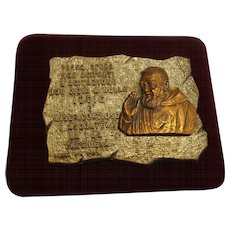 Beautiful Padre Pio Religious Plaque c. 1960 Italy Catholic Christian