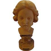 Fabulous Italian Terracotta Bust Sculpted by Antonio Malecore c. 1970s Italy Amorini Putti