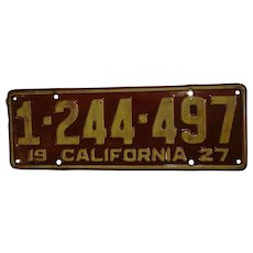 Fabulous 1927 Original California License Plate Automotive Collectible