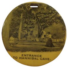 Rare Celluloid Souvenir Hannibal Street Fair Fob / Badge Mark Twain Cave Missouri 1899