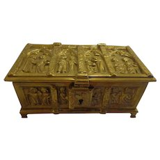 Antique French Chasse Victorian Relic Box Casket Bronze Medieval Motif Reliquary Religious