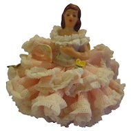 Vintage Dresden Pink Lady Figurine Miniature German Porcelain
