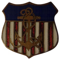 Beautiful Quality WWII Enamel US Navy Patriotic Pin Red White & Blue USN
