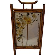Rare Victorian Bamboo Tole Painted Thick Picture Frame Asian Theme Daisy Motif Aesthetic Movement