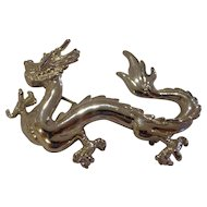Vintage 1980s Large Chinese Dragon Pin Brooch Beautiful Condition