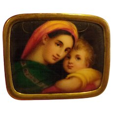 Antique Victorian Hand Painted Porcelain Brooch Raphael's Madonna Della Italian
