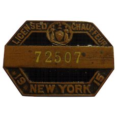 Antique New York State Chauffeur Badge 1915 Enamel Screwback Pin