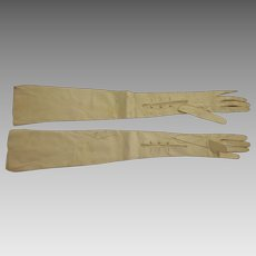 """Antique French Victorian Opera Gloves 23 1/2"""" Long Leather"""